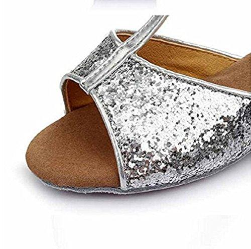 Inception Pro Infinite Latin American Dance Schuhe Für Mädchen Mädchen Ballsaal Silber Glitter YL-085