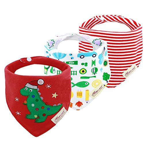JN&LULU 3-Pack Newborn Baby Bibs Baby Bandana Drool Bibs for Drooling and Teething,Organic Cotton Bibs for Baby Shower Gifts (Hat Dinosaur)