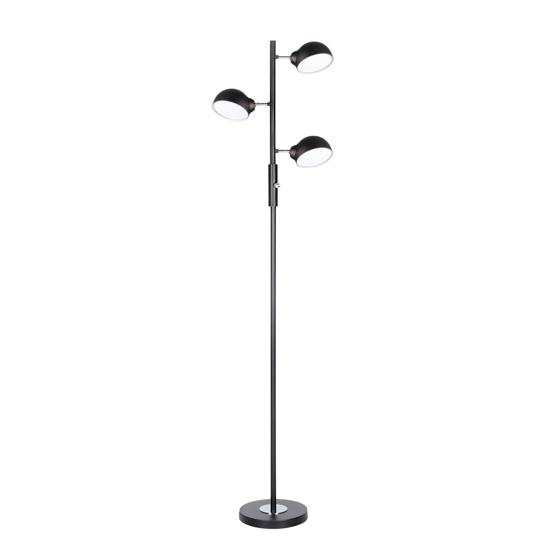 Floor Lamp, SUNLLIPE 3 Lights LED Reading Floor Lamp 15W Modern Tall Pole Standing Dimmable & Adjustable Omnidirectional Energy Saving Tree Lamp for Bedroom, Living Room, Office (Jet Black) by sunllipe (Image #1)
