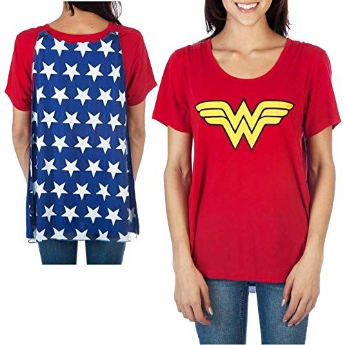 Wonder Woman T Shirt Cape (Wonder Woman Women's Interchangeable Cape Costume Tee Shirt)