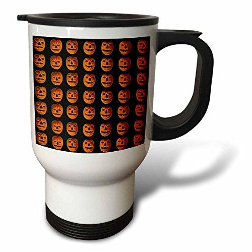 3dRose Vintage Halloween Jack O Lanterns Pattern Travel Mug, 14-Ounce]()