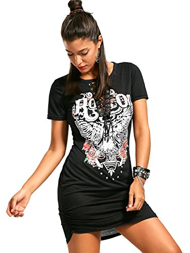 ZG&DD NEW LADIES ACID WASH RAW POWER PRINTED TOP LACE UP CHOKER NECK T-SHIRT DRESS WOMEN DRESS 02 Large