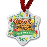 Personalized Name Christmas Ornament, Merry Christmas in Malay from Malaysia, Singapore, Indonesia NEONBLOND
