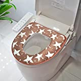 brown cushion toilet seat Warm Toilet Seat Cover Soft Flannel Toilet Cushion (14 x 17 inches) Easy Installation & Cleaning Comfortable Toilet Pad (star, brown)