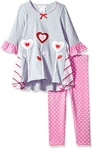 Bonnie Jean Toddler Girls' Occasion Dress and Legging Set, Heart Flowers, 4T