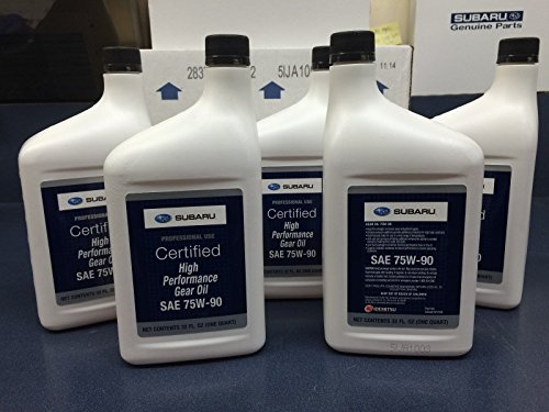 Subaru 75W90 Extra S Gear & Transmission Fluid - 5 quart Bottles Sti Wrx Genuine SOA427V1700 X5 ()