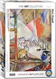 "EuroGraphics Marc Chagall - Paris Through the Window 1000-Piece Puzzle. Box size: 10"" x 14"" x 2.37"". Finished Size: 19.25"" x 26.5""."