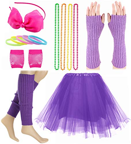 Child Girl 80's Accessories Set Tutu Skirt with Neon Bracelet Necklace Set -