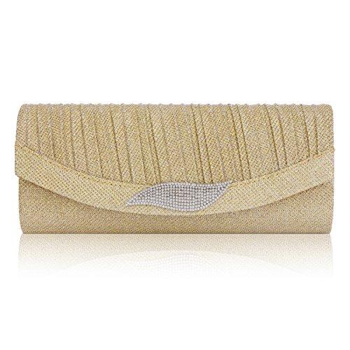 Rhinestone Flap Bag Dazzling Evening Clutch Gold Damara Leaf Clasp Womens vPqIn7Zt
