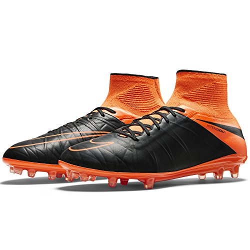 Nike Hypervenom Phantom II Leather FG 747501-008 Black/Orange Men Soccer Cleats (Size 10)