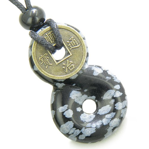 (Infinity Magic Knot Lucky Coin Protection Amulet Snowflake Obsidian Pendant Necklace)