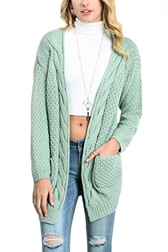 Cute Loose Fit Candy Color Knit Cardigan for Women M Green by Elosele