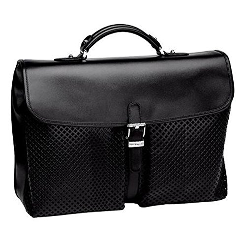 MONTBLANC Meisterstuck Black Leather Large Double Briefcase Italy 106019 ()