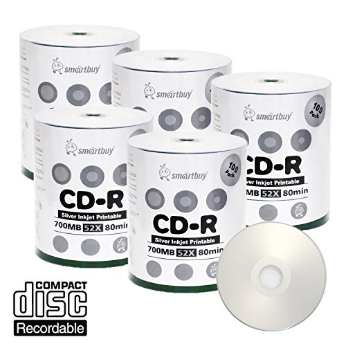 Smart Buy CD-R 500 Pack 700mb 52x Printable Silver Inkjet Blank Recordable Discs, 500 Disc, 500pk by Smart Buy