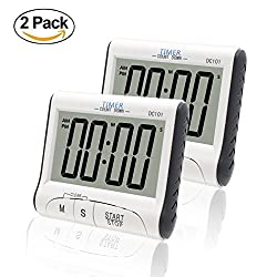 Fliiners Large Display Countdown/Up Timer Clock Digital Kitchen Timer, Cooking Timer with Loud Sounding Alarm, Strong Magnetic Backing, Battery Included (2 Pack)