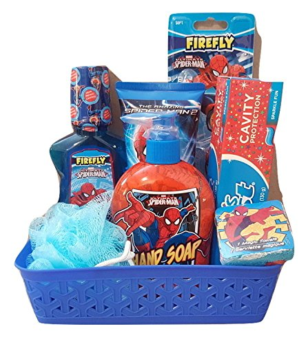 Spider Man Personal Care Bath and Body 8 Piece Gift Basket Set for Boys