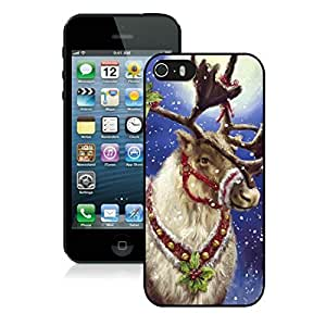 Custom Iphone 5S Protective Cover Case Christmas Deer iPhone 5 5S TPU Case 10 Black