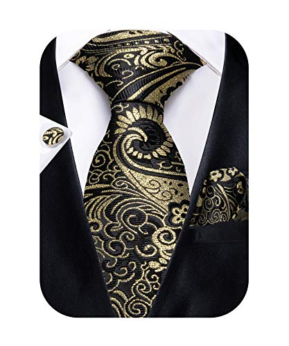 DiBanGu Black and Gold Paisley Tie and Pocket Square Men's Woven Necktie Silk Handkerchief and Clip - Paisley Silk Tie Black