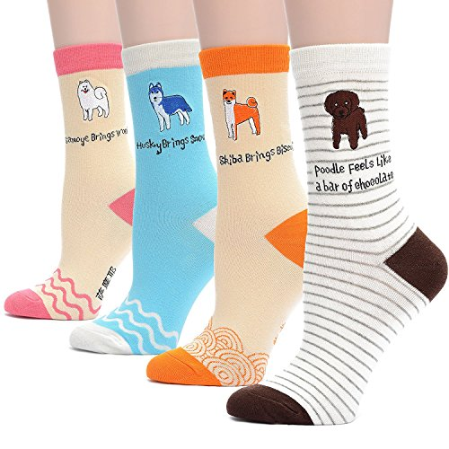 Field4U Womens 4 Pairs Cute Embroidery Dog Design Crew Socks – Dog B