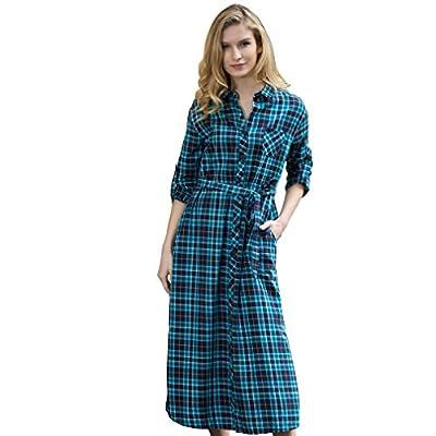 Veri Gude Fashion Long Sleeve Plaid Shirtdress Side Slit Medium Thick