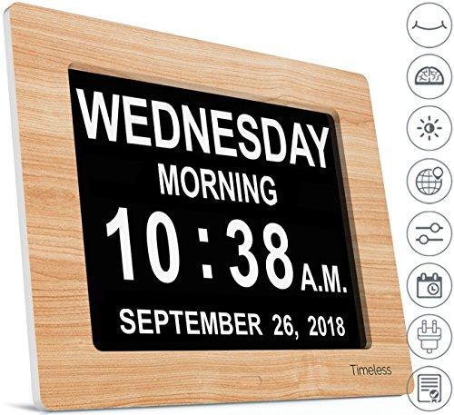 INNOCLOCK - Most Advanced - Superior Quality - Calendar Day Digital Clock - Large, Clear, Unabbreviated Time and Date - Ideal for Memory Loss, Impaired Vision and Seniors (8 inch, Light Wood Effect)