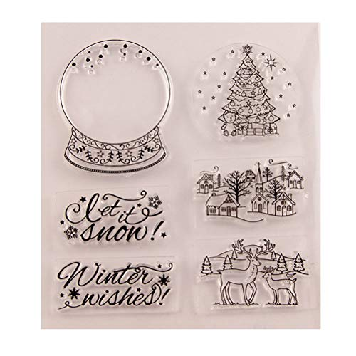 (SUPVOX Christmas Silicone Clear Stamps Christmas Tree Reindeer Christmas Village Houses Let it Snow Pattern DIY Scrapbooking Craft Card Photo Album Diary Decoration)