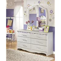 Julia Girls Bedroom Silver and Pearl Dresser Mirror