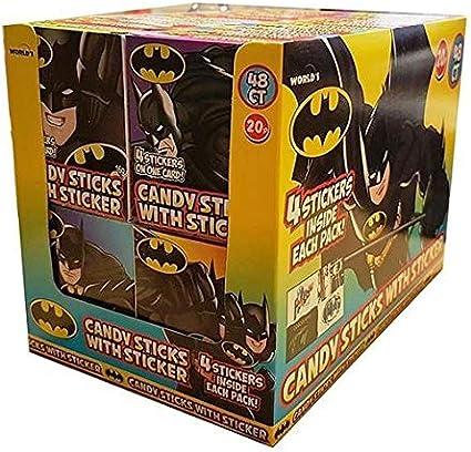 Palos de caramelo de Batman con calcomanía Sweets – Halal – Caja completa: Amazon.es: Alimentación y bebidas