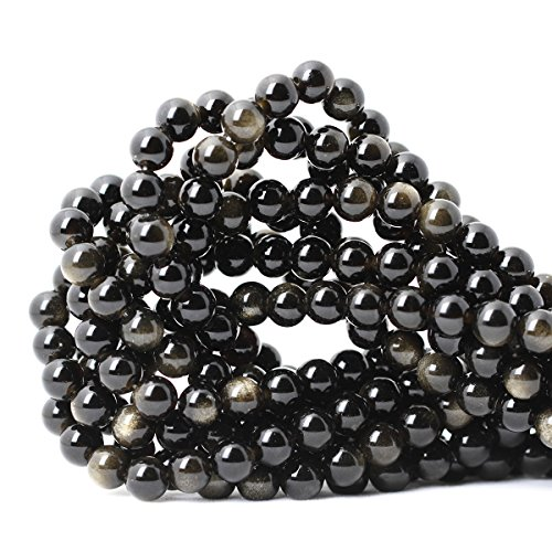 """CHEAVIAN 45PCS 8mm Natural Gold Obsidian Gemstone Round Loose Beads Crystal Energy Stone Healing Power for Jewelry Making 1 Strand 15"""""""