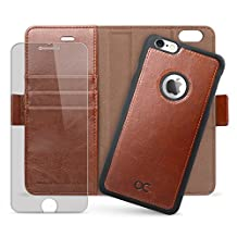 OCASE iPhone 6 Case iPhone 6S Case [Magnetic Detachable Case] Wallet Leather Case [Screen Protector Included] For Apple iPhone 6/ 6S Devices - Brown