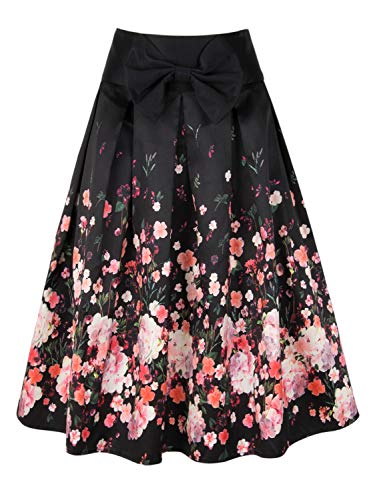 (PERSUN Womens Black Floral Print Bowknot Party Pleated)