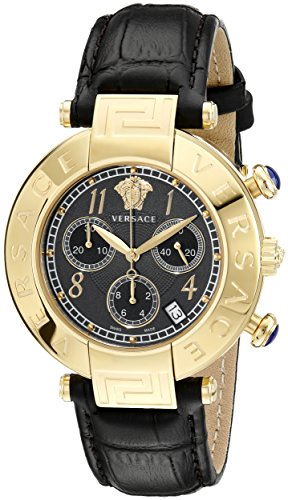 Versace Women's Q5C70D009 S009 New Reve Yellow Gold Ion-Plated Watch with Black Leather Band