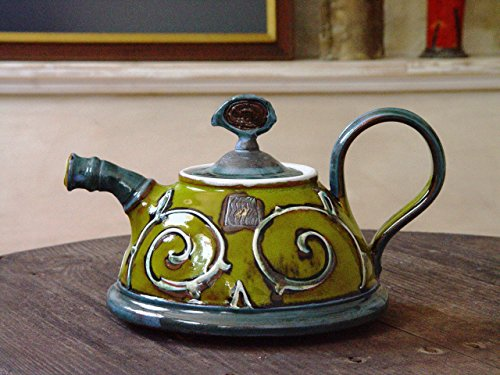 Green Ceramic Teapot. Artistic Pottery Teapot. Handmade Tea Pot
