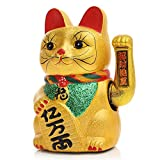 Raza Classic Feng Shui Electric Waving Cat Beckoning Golden Ceramics Lucky Cat Powered by Battery Wealth Prosperity Crafts 8'' 21cm