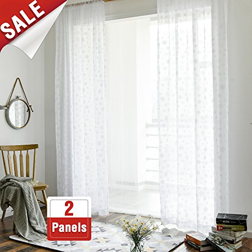 Snow Curtain Decoration Winter Curtains for Bedroom 63 inches Long Snowflake Curtains Living Room Curtains 2 Panel Sets Rod Pocket Print Curtains Dining Room White Sheer Curtains