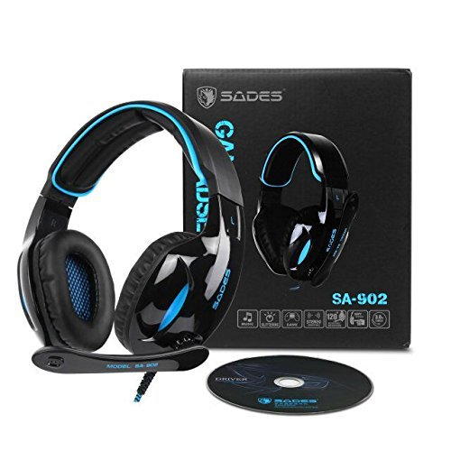 PC MAC Gaming Headset ,SADES 902 7.1 Surround Sound PC Headsets USB Over-ear Gaming Headphones with Microphone LED Light