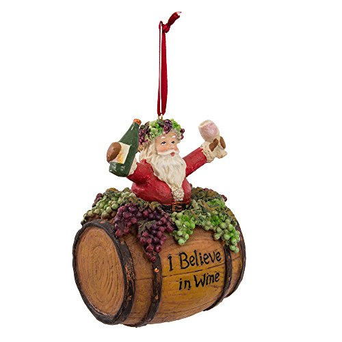Kurt Adler 4-Inch Polyresin Santa on Wine Barrel Ornament (Ornaments Glass Wine)