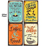 Kitchen Wall Decor, Set of 4 Prints 11x17in, Coffee Bar Decor. Kitchen Decor. Kitchen Wall Decor Theme. Home, Bathroom, Dinning Room Vintage Signs, Posters, Pictures, Decals, Art, Decoration.