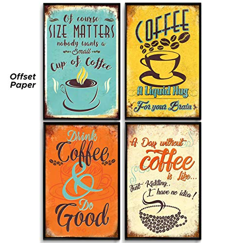 Kitchen Wall Decor, Set of 4 Prints 11x17in, Coffee Bar Decor. Kitchen Decor. Kitchen Wall Decor Theme. Home, Bathroom, Dinning Room Vintage Signs, Posters, Pictures, Decals, Art, Decoration. ()