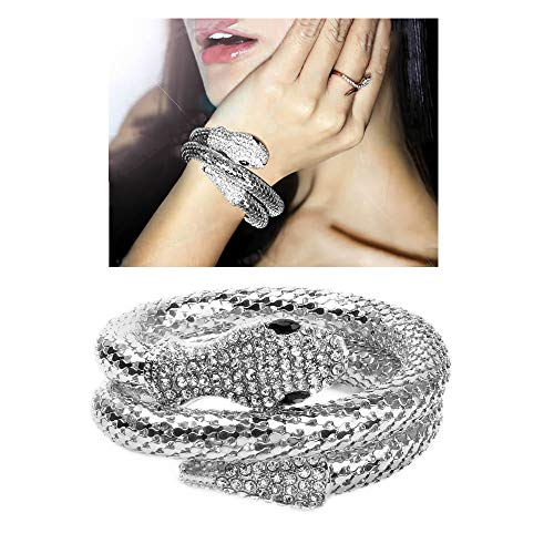 Personality Flexible Bendable Magnet Snake Necklace,Opening Adjustable Python Rhinestone Choker Sweater Necklace Waist Chain for Women Girls Party Gifts (Bangle-silver)