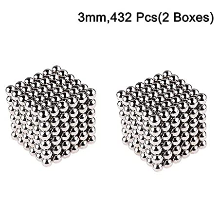 3mm Magnetic Fidget Blocks Ball, EVERMARKET Magnetic Sculpture Toy for Intelligence Development, a Great Toy for Office, Home, and Everywhere - with a Metal Gift Box (216 pcs,1 Box) EVERMARKET INC