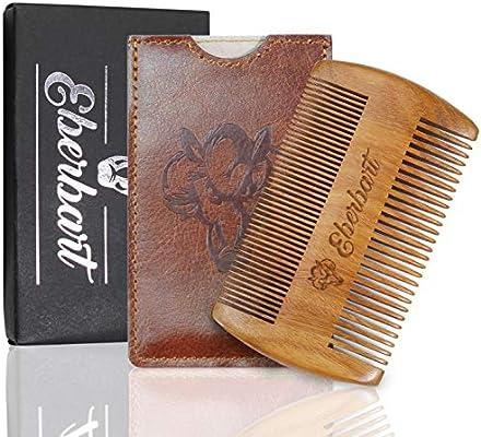 Eberbart Peine para Barba Incl. Estuche de Cuero Sintético | Peine de madera auténtica antiestática para el cuidado natural de la barba (madera de peral): Amazon.es: Salud y cuidado personal