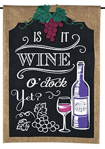 Home Garden Flag – Its Wine Oclock Summer Spring Garden Flags – Chalkboard Design on Burlap 12.5 x 18 For Sale