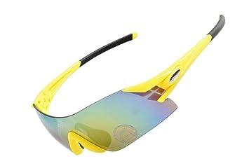 hysenm Fotocromáticas Frameless único lente UV400 gafas gafas de ciclismo pesca Escalada Varios colores yellow and