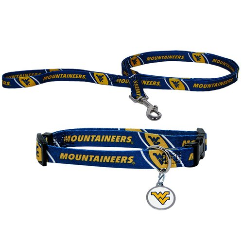 Hunter Manufacturing HUN-4100-44-6900 West Virginia Mountaineers NCAA Dog Collar & Leash Set