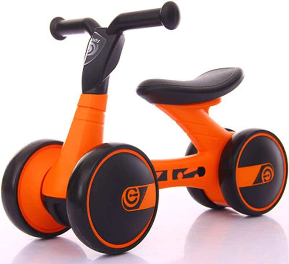 Equilibrio para niños Scooter de Coche Andador para bebés de 1 a 3 años sin Pedal de Cuatro Ruedas,Orange