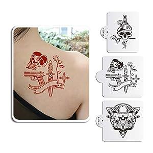 Art Kitchenware Skull Pattern Tattoo Plastic Stencil Set for Boby Sugar Decoration Tattoo Mold Reusable Stencils for… 2