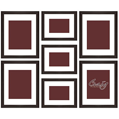 Craig Frames 23247778 Picture Frame 7-Piece Wall Set, Brown Frames, White Display Mats