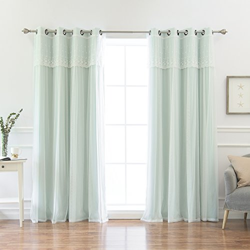 Best Home Fashion MM_DIMANCHE_GS-84 Valance & Solid Blackout Curtain Set, Mint, 52