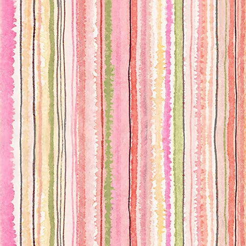By Timeless Treasures - Timeless Treasures Fabrics Floral Study Watercolor Stripe Multi